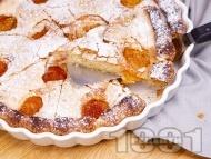 Лесен и бърз домашен класически сладкиш с пресни кайсии, ванилия и пудра захар